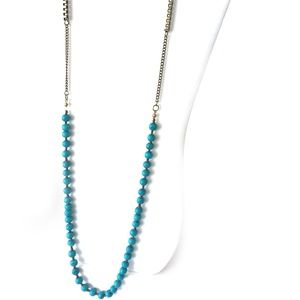 Jewelry - Dark Gold chain necklace w/turquoise colored beads